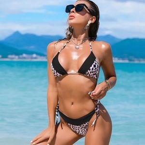 Color Block Leopard Print Tingle Bikini